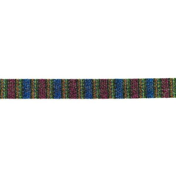 Glitzer Schrägband mit bunten Streifen pink blau 20 mm Zierband Glitzerband