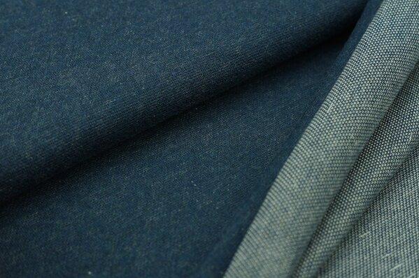 Jacquard-Sweat Mia navy blau Melange Uni mit navy blau und off white Rückseite