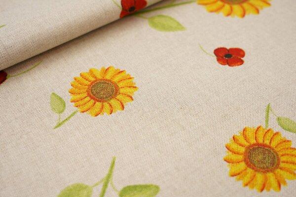 Canvas-Stoff Dekostoff in Leinenoptik Sonnenblumen Mohn Weizen auf natur