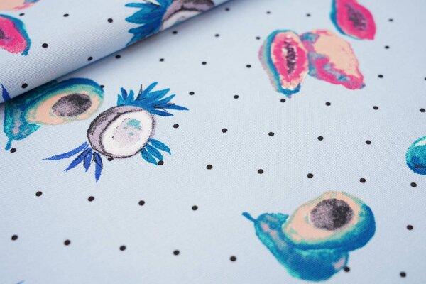 Canvas-Stoff Dekostoff in Leinenoptik tropische Früchte und Punkte auf hellblau