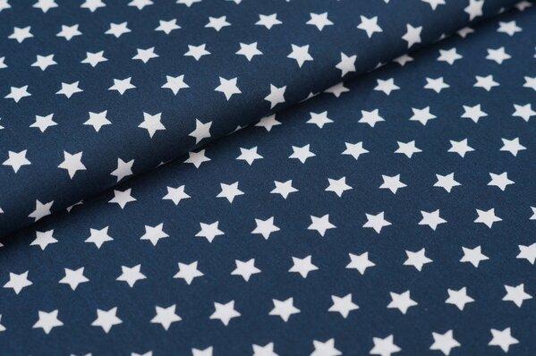 Baumwollstoff Baumwolle kleine Sterne navy blau / weiß