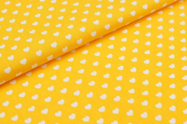Baumwollstoff Baumwolle Herzen gelb / weiß