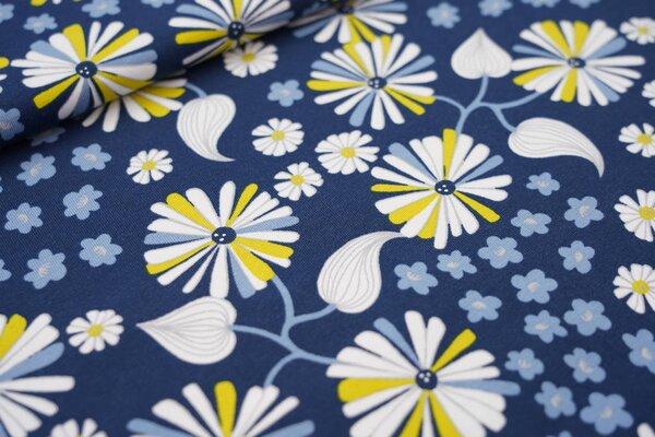 Baumwoll-Jersey große Blumen und Blüten blau / weiß / olivgelb / hellblau / grau