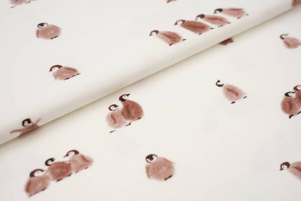 Digitaldruck Baumwoll-Jersey Aquarell Pinguine cremeweiß / braun