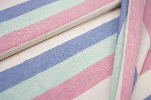 Jersey Maya Blockstreifen pastell pink off white jeansblau mint melange