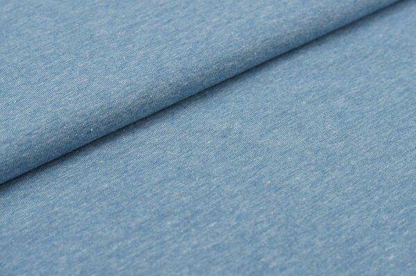 Baumwoll-Jersey uni hellblau meliert