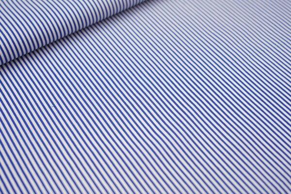 Baumwollstoff Streifen kobaldblau / weiß Ringel Baumwolle