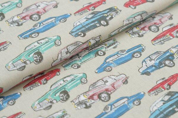 Baumwoll-Stoff Baumwolle Autos Oldtimer beige / rot / blau / grün