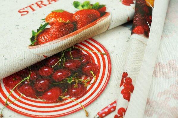 Dekostoff Digitaldruck Früchte Beeren Kirschen rot bunt
