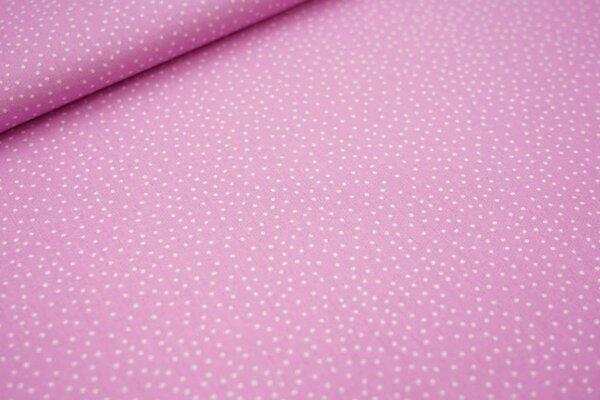 Baumwollstoff kleine unregelmäßige weiße Punkte auf hell pink