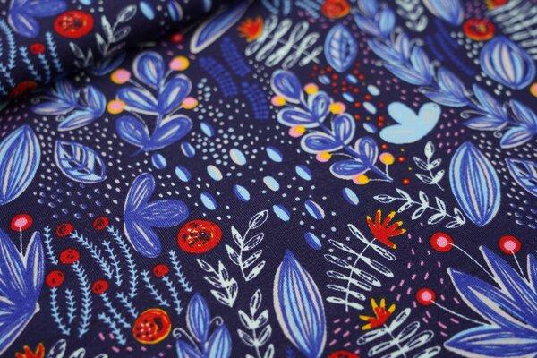 Baumwoll-Jersey Pflanzen im Wildgarten Blumen dunkelblau / blau / rot