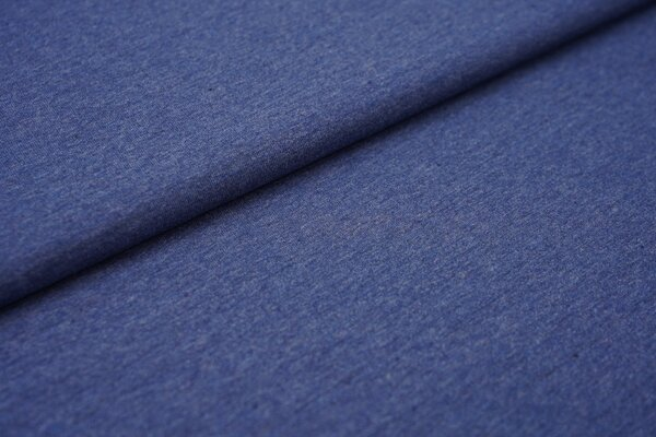Baumwoll-Jersey Recycelt einfarbig uni jeansblau meliert
