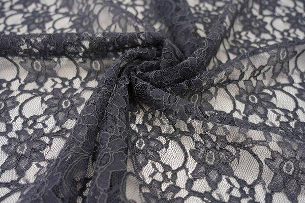 Elastische Spitze mit Blumen-Muster dunkelgrau