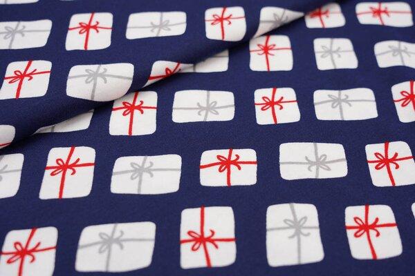 Interlock Jersey Weihnachtsgeschenke mit Schleifen auf navyblau