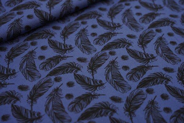 Baumwoll-Jersey schwarze Federn auf taupe blau