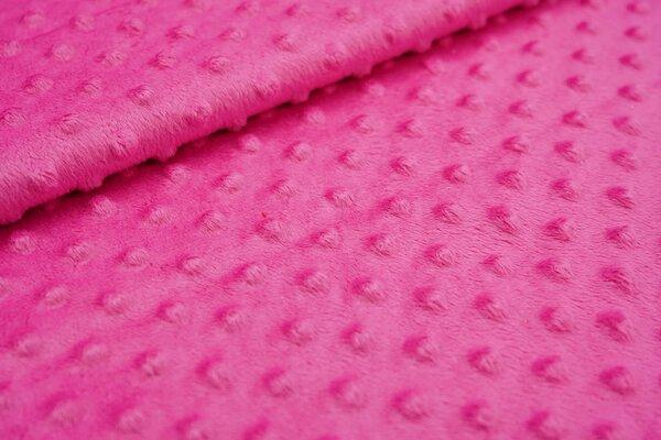 Minky Bubble Fleece Noppen Punkte uni pink