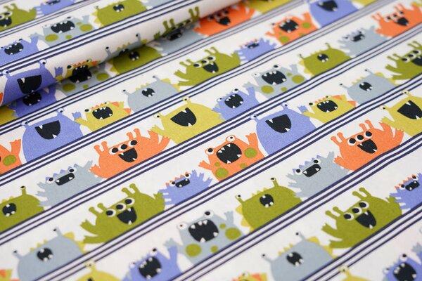 Baumwollstoff witzige Monster auf Linien weiß / blau / grün / orange / grau