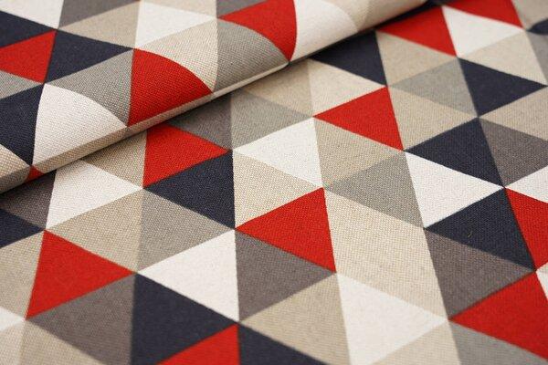Canvas-Stoff Dekostoff Leinenoptik Dreiecke rot schwarz grau schlamm weiß