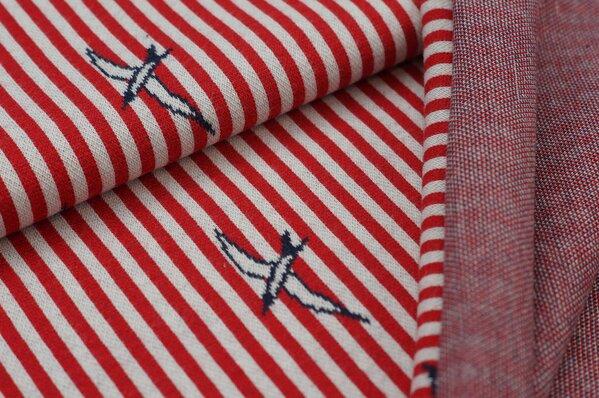 Jacquard-Sweat Schwalben Vögel (umrandet) Streifen rot / off white / navy blau