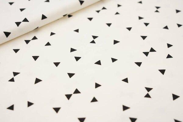 Baumwoll-Jersey schwarze Dreiecke auf creme