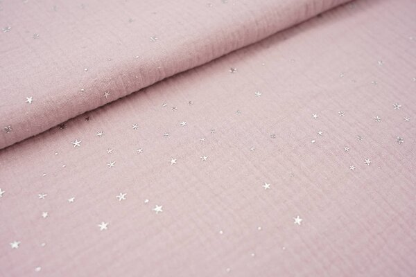 Musselin Stoff Double Gauze uni pastell violett mit Silver Stars Sterne