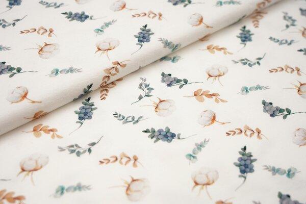 Digitaldruck Baumwoll-Jersey Aquarell mit Baumwollpflanzen Blumen in mint grün beige auf off white c