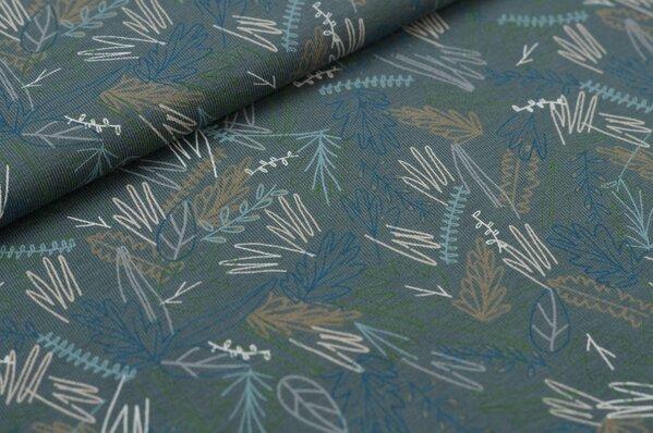 Baumwoll-Jerseystoff Blätter-Muster in hellblau / beige / blau / ecru auf grau