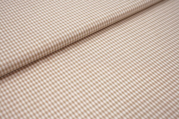 Baumwollstoff Baumwolle vichykaro Karomuster sehr klein kariert weiß / beige