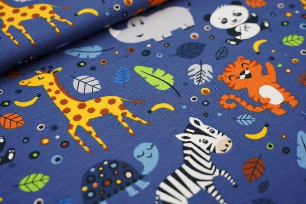 Baumwoll-Jersey Tiere und Punkte Panda Affe Zebra Nashorn Giraffe Tiger blau