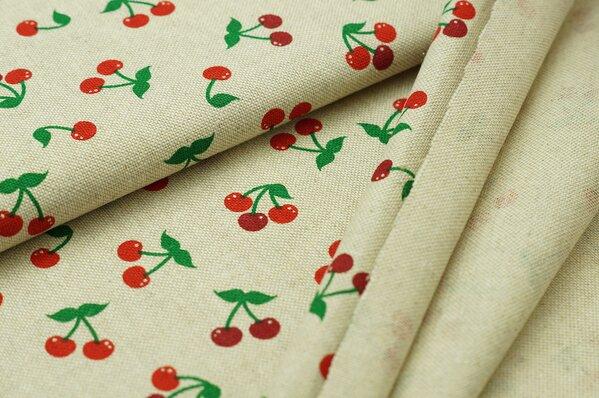 Dekostoff Leinenoptik Kirschen Blumen natur rot grün