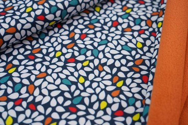 Softshell-Stoff mit Blätter-Tropfen auf dunkelblau / orange Innenseite