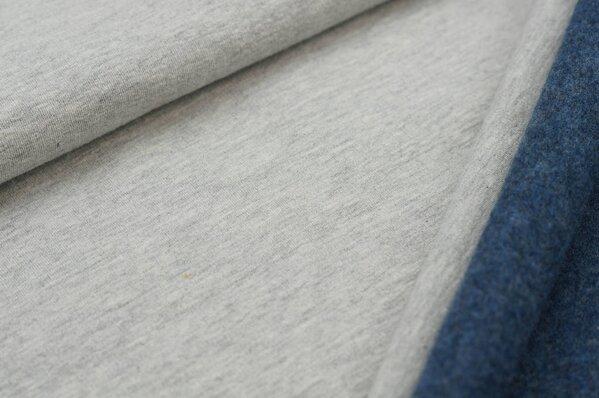 Wintersweat Elli uni grau melange mit Rückseite in dunkelblau