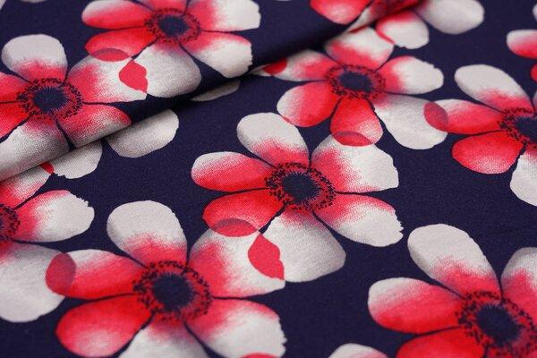 Viskose-Jersey große Blüten Blumen dunkelblau / rot / grau