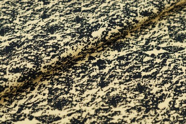 Baumwoll-Jersey Digitaldruck abstraktes Steinmuster schwarz / hellgelb