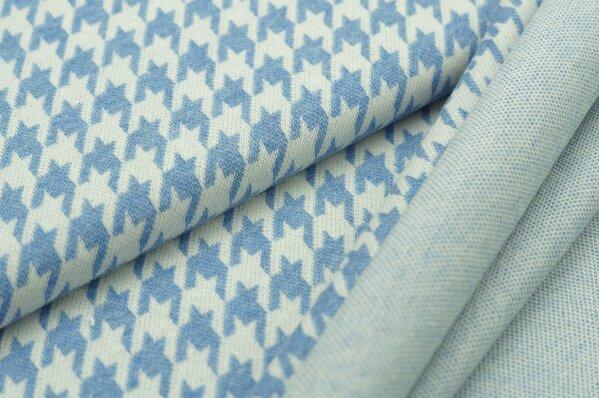 Jacquard-Sweat Mia mit Hahnentritt Muster pastell jeansblau Melange u. off white
