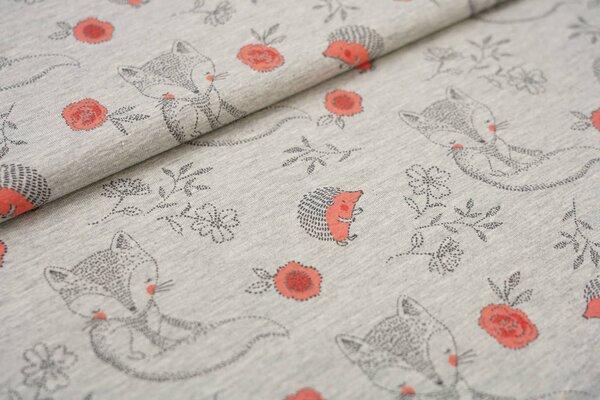 Baumwoll-Jersey Fuchs und Igel mit Blumen auf grau meliert