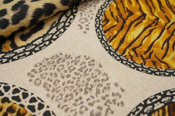 Canvas-Stoff Dekostoff in Leinenoptik Tierfell-Muster im Kreis Tiger Leo natur