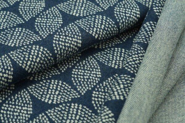 Jacquard-Sweat Mia off white Blätter Muster auf navy blau Melange