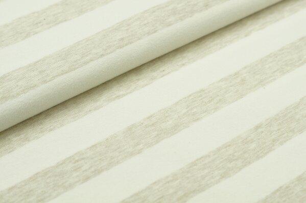 XXL Jersey Maya Streifen Ringel breit pastell beige melange / off white