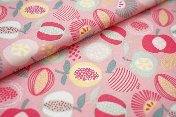 Sommer T-Shirt-Stoff / leichter Jersey Früchte und Obst auf rosa Apfel Melone