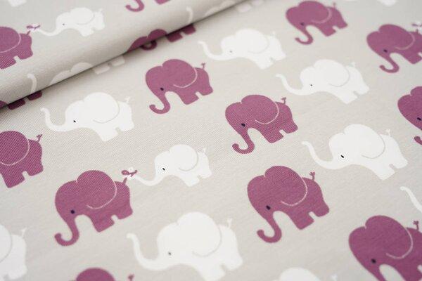 Baumwoll-Jersey Elefanten Parade hellgrau / purpurviolett / weiß