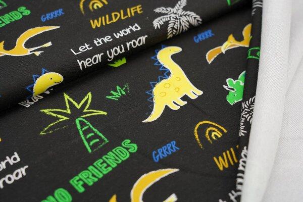 Baumwoll-Sweat Digitaldruck Dinosaurier Sprüche Pflanzen schwarz / grün / blau