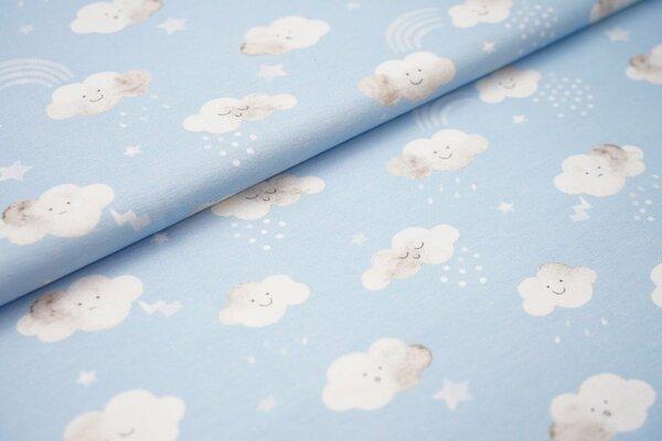 Baumwoll-Jersey Swafing Little Spring Wolken Sterne weiss auf hellblau