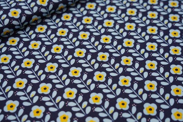 Baumwoll-Stoff mit Blumen dunkelblau / hellblau / senf / rosa