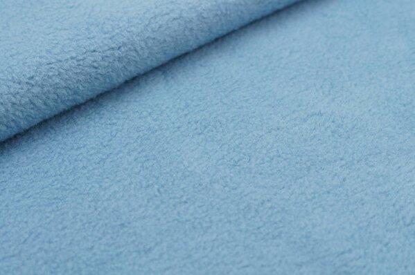 Baumwoll-Fleece uni taupe blau hell