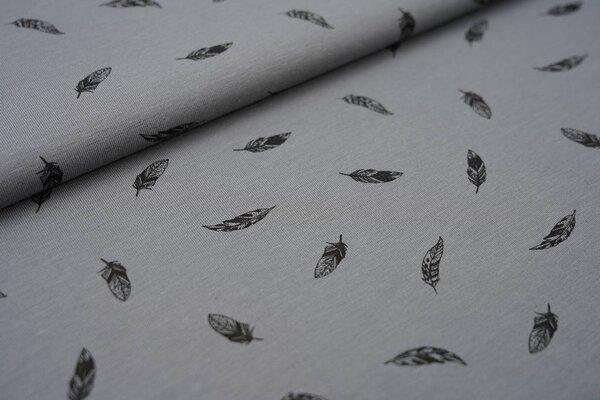 Baumwoll-Jersey mit kleinen schwarzen Federn auf grau