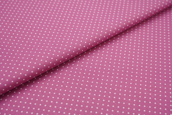 Baumwollstoff Baumwolle altrosa violett mit kleinen weißen Punkten