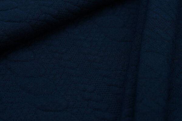 Stepp-Stoff Uni Zopfmuster dunkelblau Steppsweat
