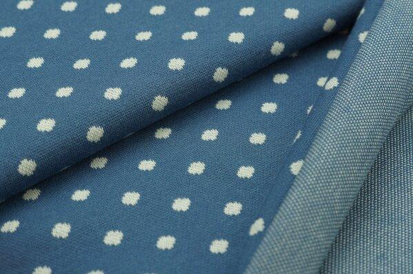 Jacquard-Sweat Ben off white Punkte Tupfen auf taupe blau