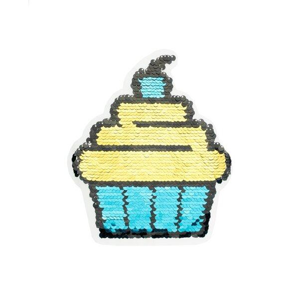 Applikation großer Cupcake blau / pink / gold Aufnäher mit Wendepailletten